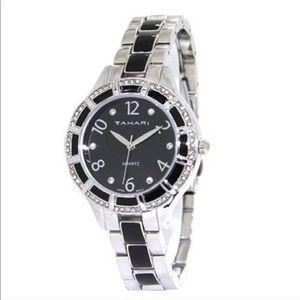 Tahari 2 Tone Crystal Bracelet Watch NEW